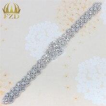 (1piece) Handmade Bling Sew On Hot Fix Beaded Crystal Silver Rhinestone Applique for Bridal Wedding Dress Belt Headbands Garter