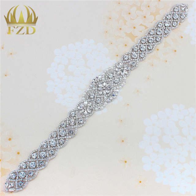 Online Shop (1piece) Handmade Bling Sew On Hot Fix Beaded Crystal Silver Rhinestone  Applique for Bridal Wedding Dress Belt Headbands Garter  c53afa88f76a
