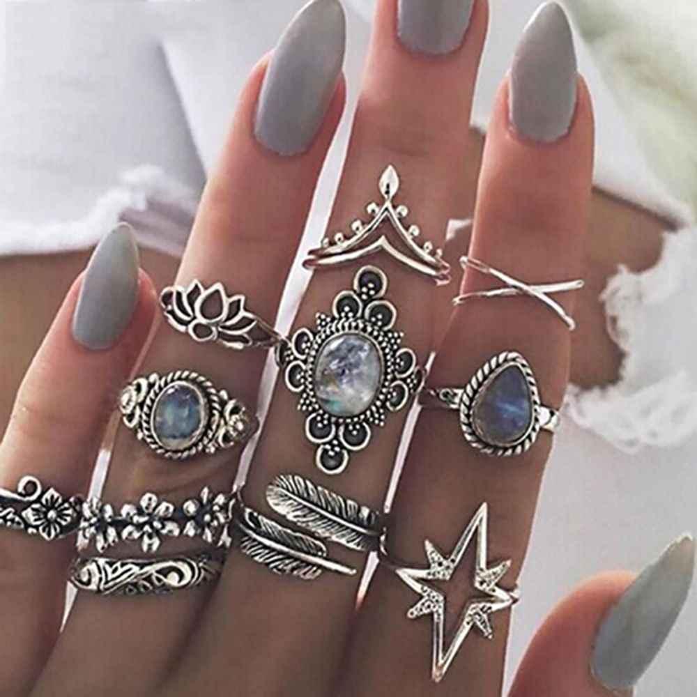 11 PÇS/SET Anéis Set para As Mulheres Do Vintage Azul Cristal Lótus Pena Boho Midi Knuckle Anéis Declaração de Bijuterias Presente