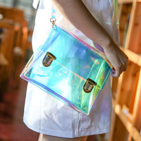 Summer 2016 Portable Transparent Diagonal Square Jelly Small Bag Satchel Bag
