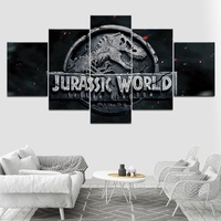 Jurassic Park Movie Art Canvas Painting Print Wall Poster for Living Room Decoration 5 piece