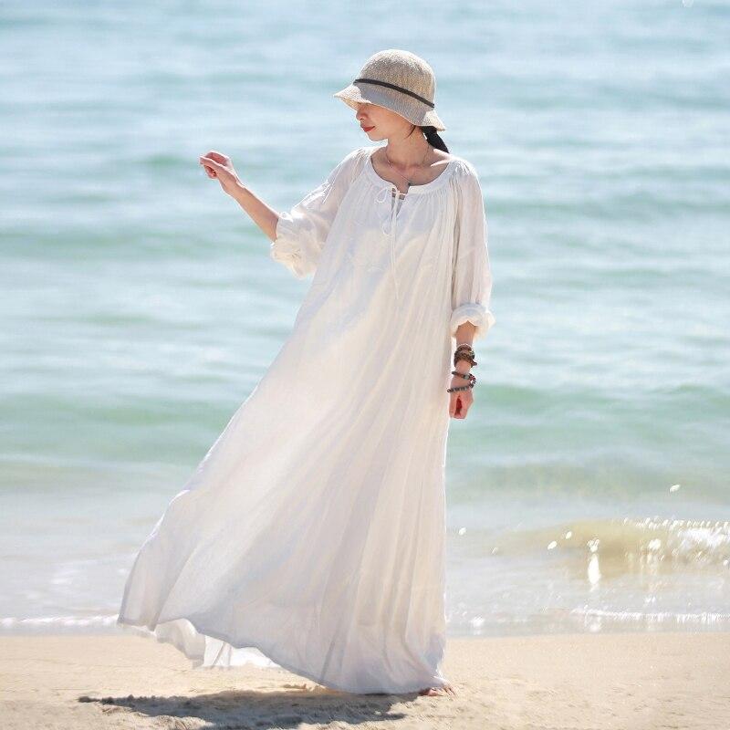 LZJN White Maxi Beach Dress Long Sleeve Women 2019 Spring Autumn Cotton Linen Robe Lace Up
