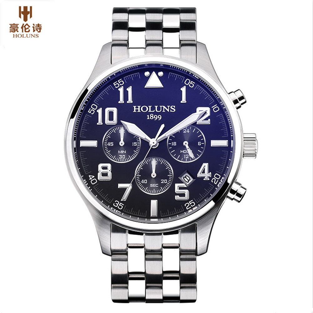 Holuns mens watches top brand luxury fashion business men watch Quartz Stainless Steel waterproof wristwatches