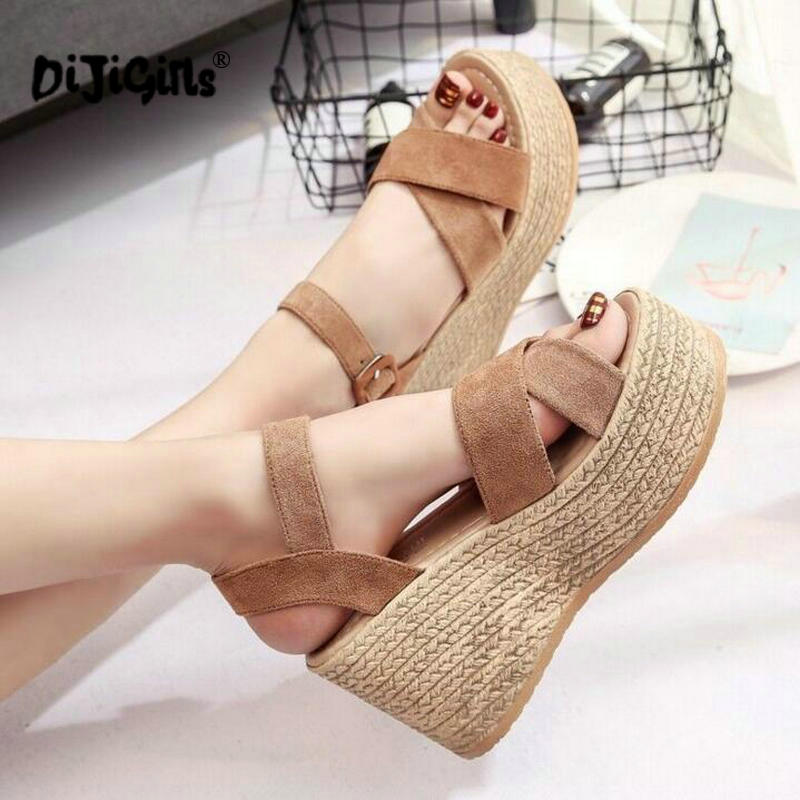 Summer Buckle Women's Sandals Velvet Flock Fish Mouth Fashion high Heel Platform Open Toes Women Sandals Shoes Drop Shipping(China)