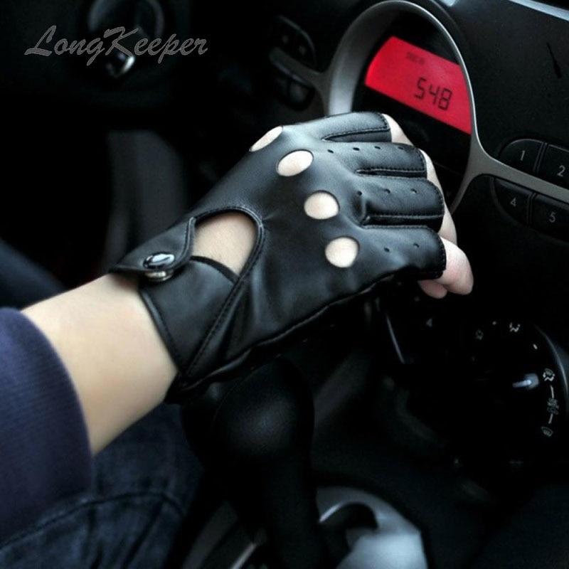 LongKeeper Half Finger PU Leather Gloves Women Street Dance Thin Performance Mittens Men Fingerless Black Driving Guantes