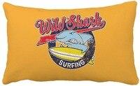 30 cm x 50 CM Retro màu vàng dễ thương lướt sóng cá mập in trang trí nội thất Gối trang trí gối sofa đệm bán buôn OEM