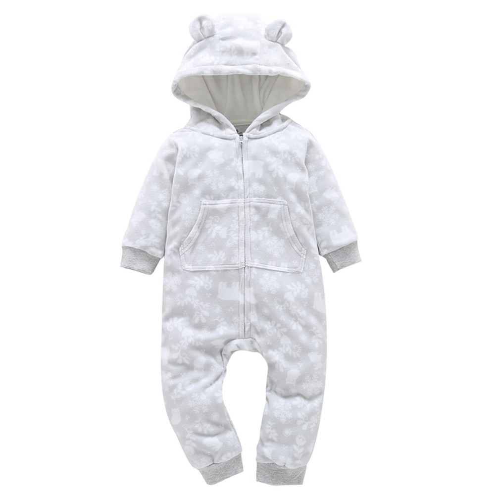Christmas Baby Boys Girls Thicker Print Hooded Romper Jumpsuit Home Clothes Cute Print Long Sleeve Baby Rompers for Winter Warm