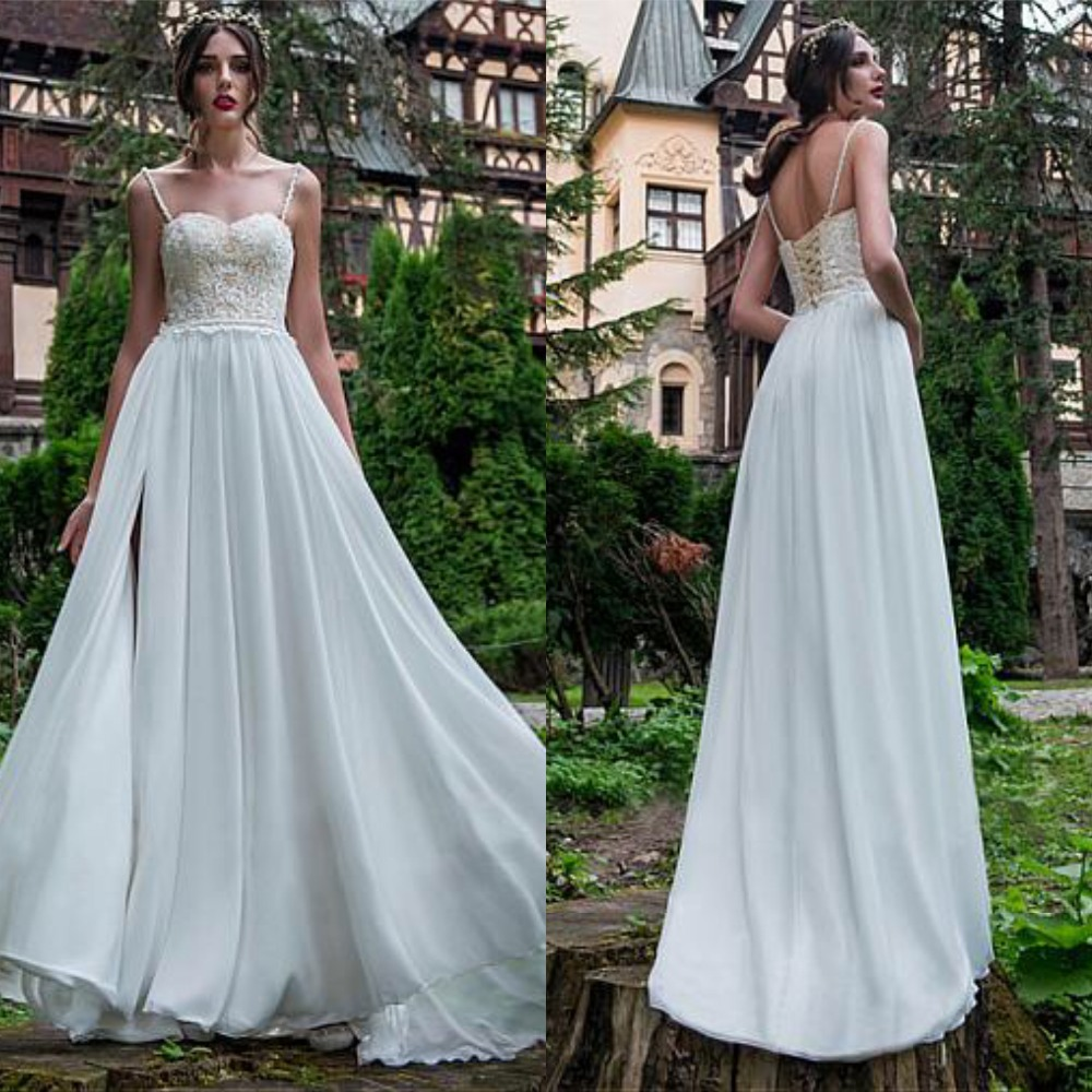 Graceful Chiffon Spaghetti Straps Wedding Dress With Appliuqes Beading Split A Line Bridal Gowns Lace up