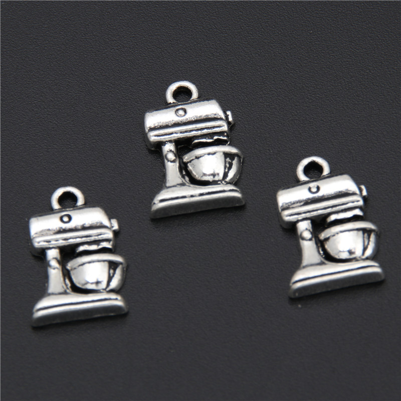 20pcs Antique Silver Kitchen Appliance Charms Blender Pendant Beads Bakery Jewelry Craft Supplies&Tools 17x10mm A2909