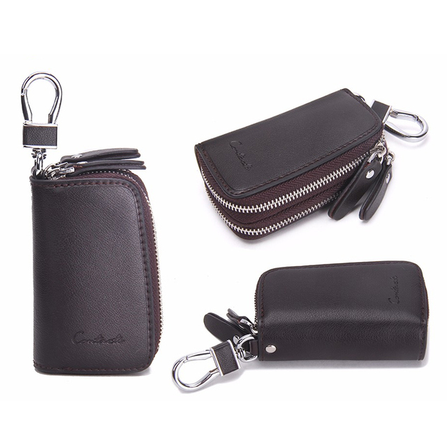 CONTACT'S Classic New Double Zip Men's Genuine Cow Leather Car Key Holder Multifunction Housekeeper  High Class Motor Key Case 3