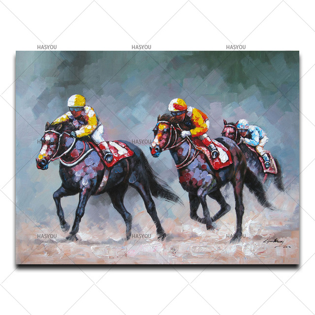 Oil Painting Wall Pictures For Living Room Home Decor Abstract Horse Riding Race Colorful Canvas Art Home Decor No Frame
