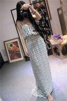 Vintage Long Stripe Maxi Dress For Mori Girls Lolita Summer Navy Style Sleeveless Strapless Slip Camisole
