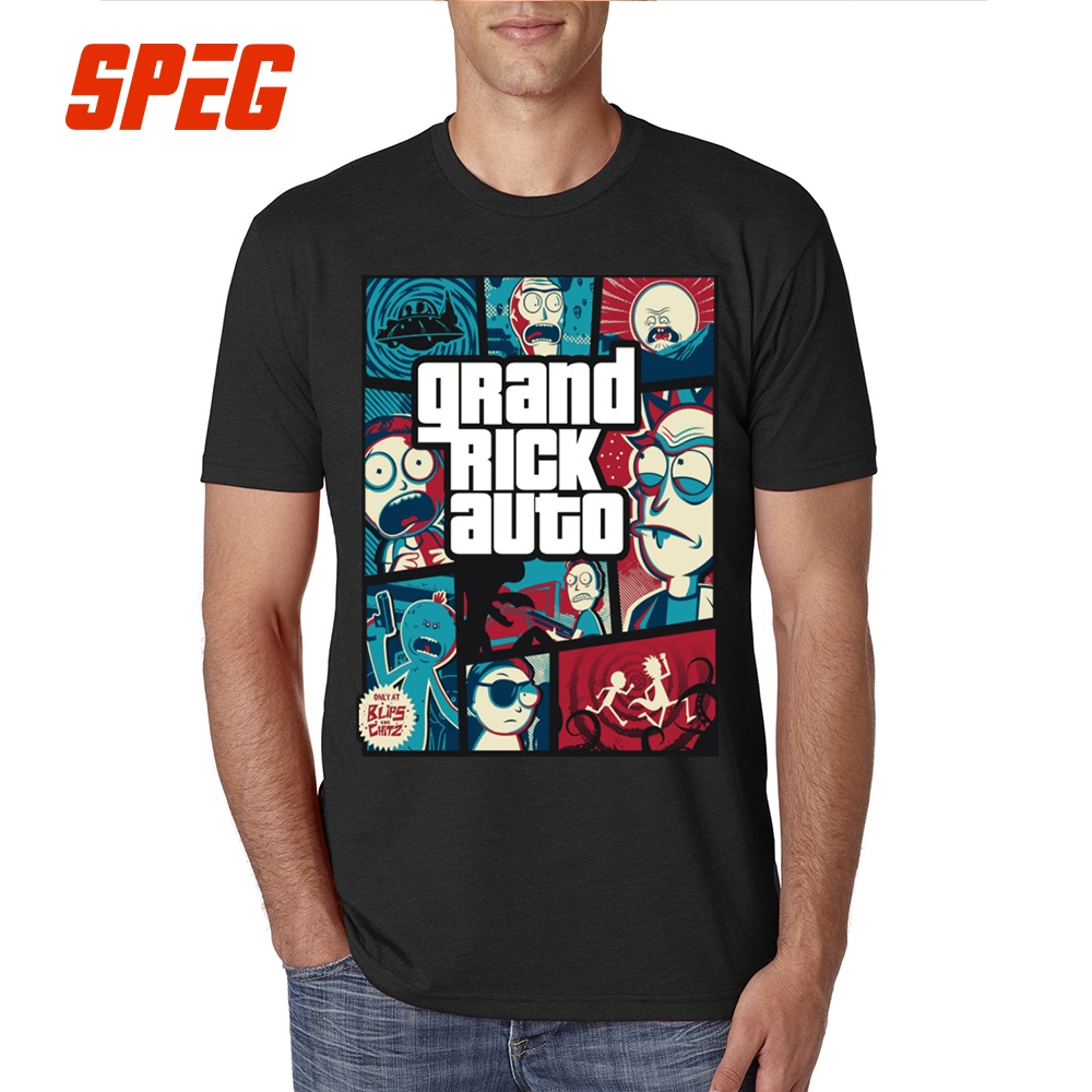 Rick and Morty GTA 5 Style   T     Shirt   100% Cotton Plus Size Short Sleeve Pink   T  -  Shirt   Round Collar Vintage Printing Tees XXXXXL