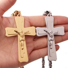 Granny Chic 6mm Byzantine Chain Necklace For Mens Neck Jewelry Silver Gold Color Jesus Cross Pendant Stainless Steel 18-36