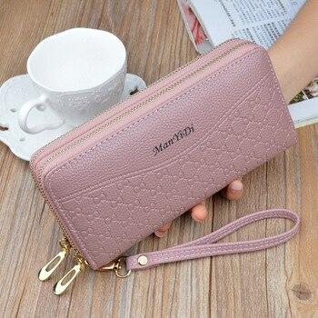New Hot Sale Women Clutch Wallet Top Quality PU Leather Wallets Female Long Wallet Women Double Zipper Purse Coin Purse Carteira