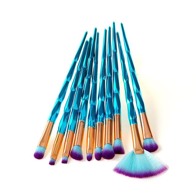 7/10pcs Unicorn Diamond Makeup Brush blue make up brush Synthetic Hair smooth Fan Foundation eye shadow makeup brush set kit