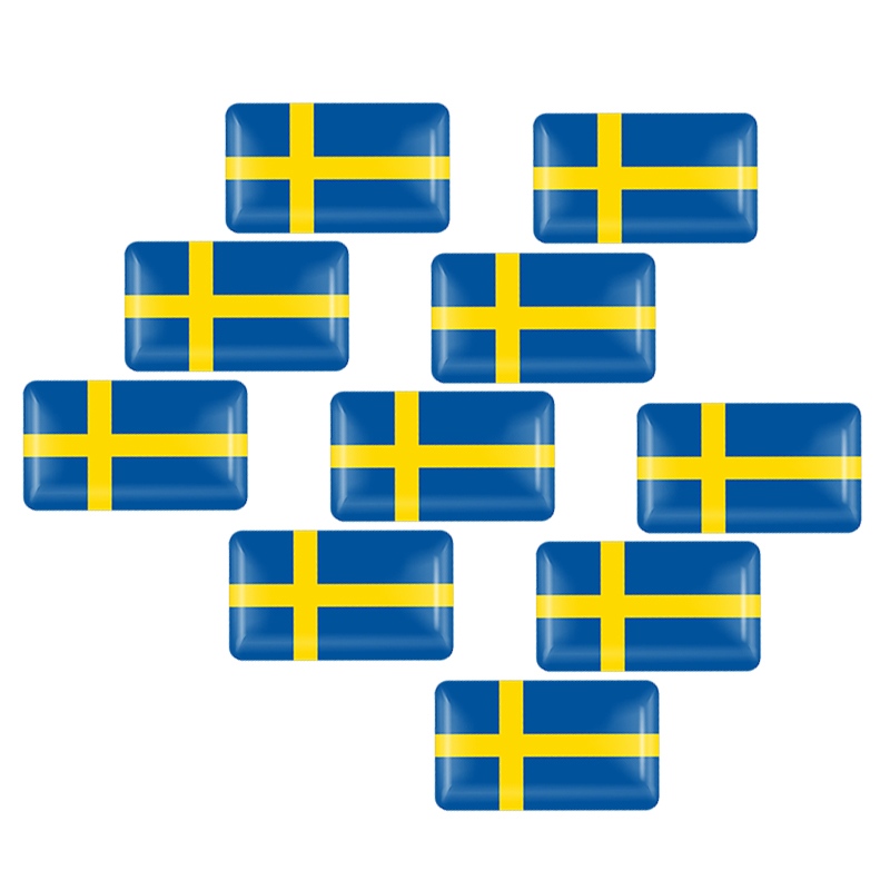 10Pcs Car Styling 3D Epoxy Sweden Flag Sticker Emblem Decal Badge For SE Cars Body Window Door for <font><b>Volvo</b></font> V70 XC60 S60 V60 <font><b>V40</b></font> image