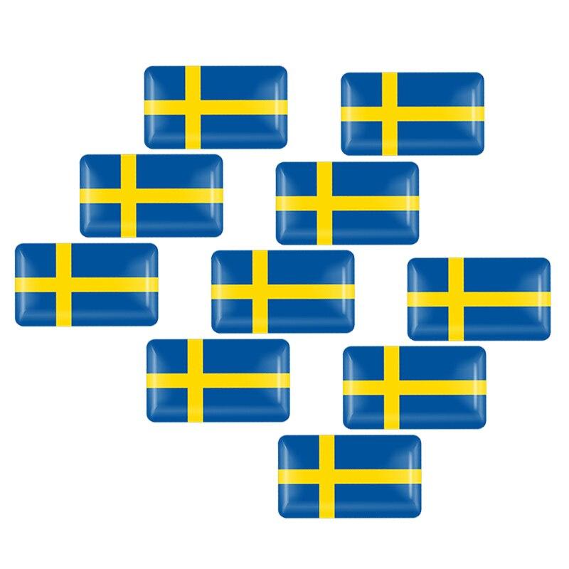 10Pcs Car Styling 3D Epoxy Sweden Flag Sticker Emblem Decal Badge For SE Cars Body Window Door For Volvo V70 XC60 S60 V60 V40