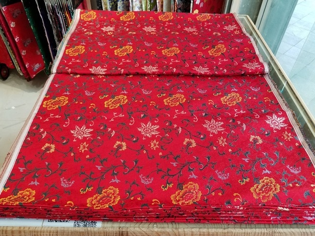 bcee444db chinese silk brocade woven damask fabric cheongsam cushion red back with  yellow peony and green leaf new color match