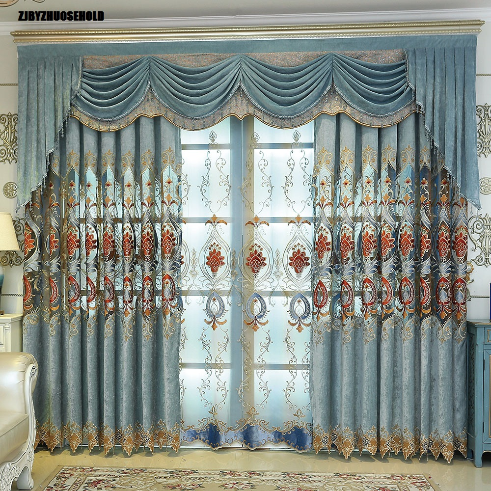 Curtains for Living Dining Room Bedroom Modern Curtains Luxury Curtains Chenille Continental Embroidery Parlor Curtains