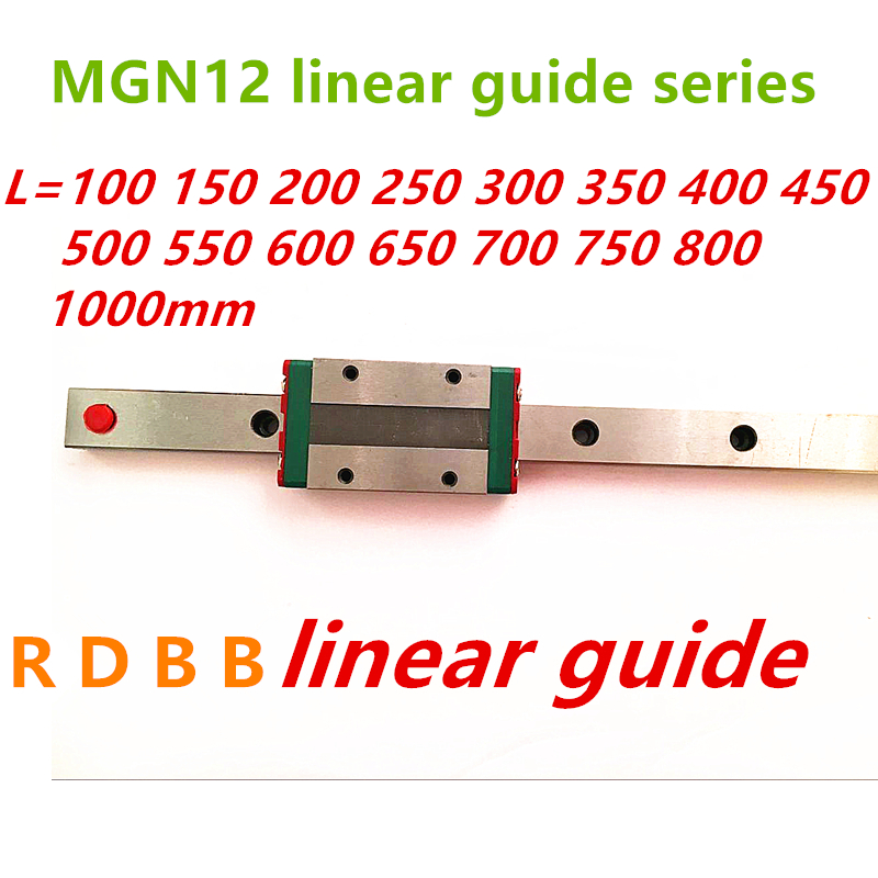 12mm Linear Guide MGN12 100 150 200 250 300 350 400 450 500 550 600 700 800 1000 mm +MGN12H or MGN12C block 3d printer CNC