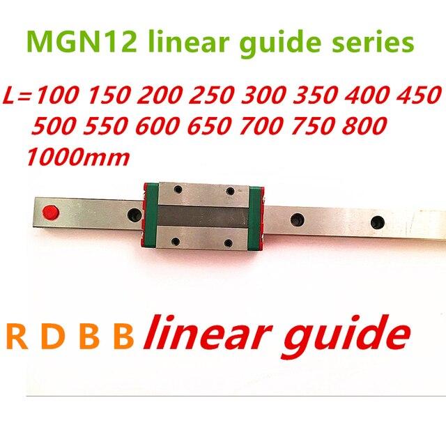12mm de guía lineal MGN12 100, 150, 200, 250, 300, 350, 400, 450, 500, 550, 600, 700, 800, 1000 mm + MGN12H o MGN12C de 3d impresora CNC