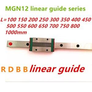 12mm Linear Guide MGN12 100 150 200 250 300 350 400 450 500 550 600 700 800 1000 mm +MGN12H or MGN12C block 3d printer CNC(China)
