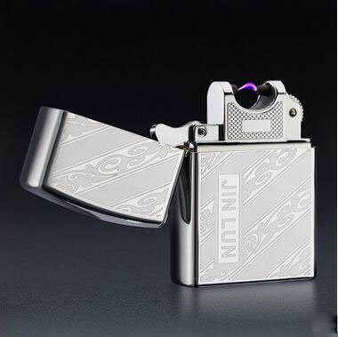 1pc USB Rechargeable font b Electronic b font Lighter Chrome Steel Windproof Smoking Metal font b