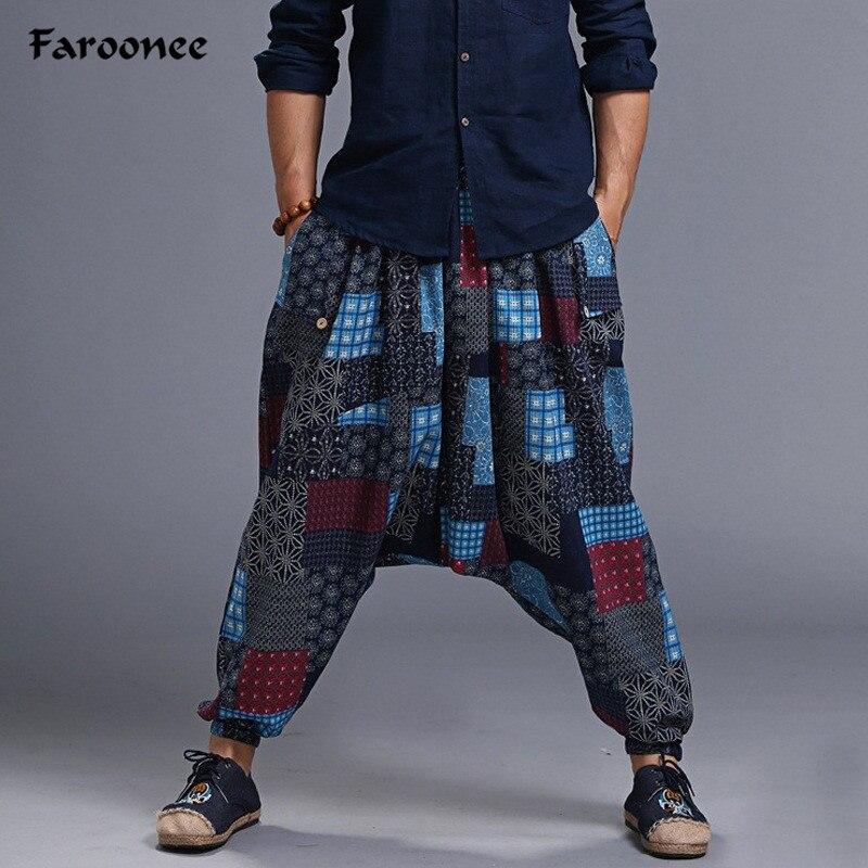 New Hip Hop Aladdin Hmong Baggy Cotton Linen Harem Pants Men Women Plus Size Wid