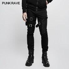 Punk Rave Mens Personality Vintage Pants Heavy Metal with Pocket Street Rock Black Pencil Hip Hop Streetwear