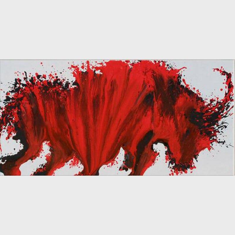 Peint à la main vache toile Art impression et affiche ferme Animal taureau photographie toile peinture photo moderne mur Art décor
