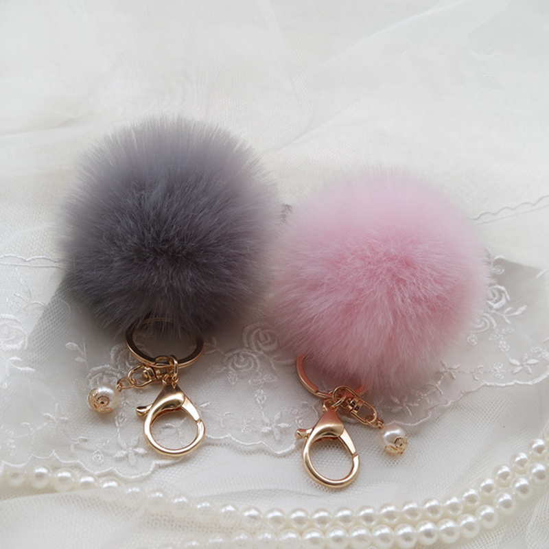 Fashion Fluffy Pompon Rabbit Fur Ball Pom Pom Keychain Pearl Key Chain Women Bag Charm Trinket Gold Car Key Ring Jewelry Gift