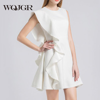 WQJGR 2018 fasion Spring And Summer Dress for Women White Middle Waist Sleeveless Dress