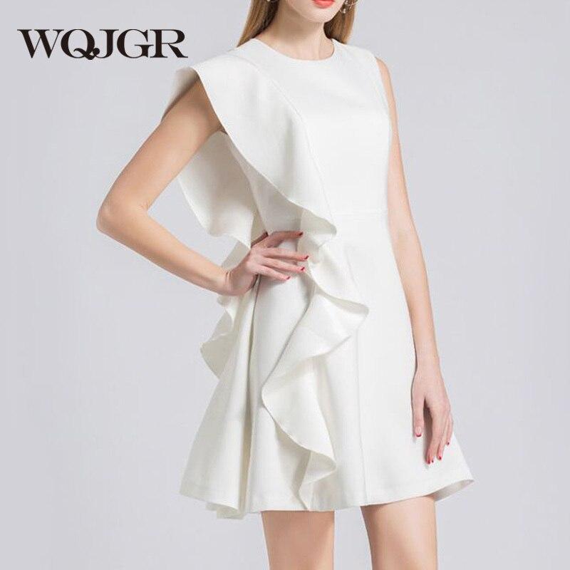 WQJGR 2019 mode printemps et été robe pour les femmes blanc taille moyenne sans manches robe-in Robes from Mode Femme et Accessoires    1