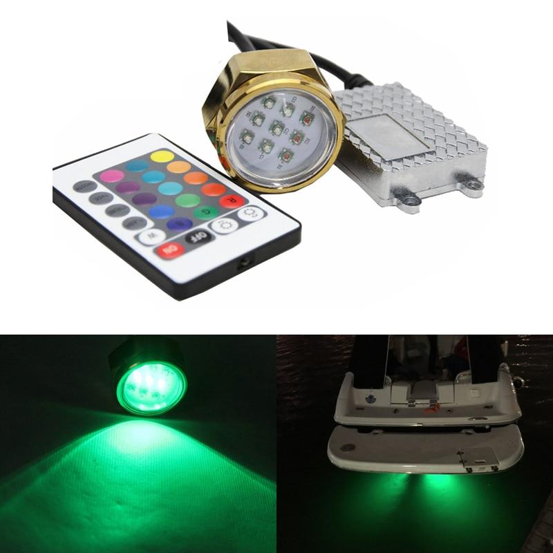Подводная лодка светодиодные лампы светодиодные сливная пробка свет с разъемом 27w Сид Водонепроницаемый ip68 RGB Цвет морской яхт-1800lm для рыбалки