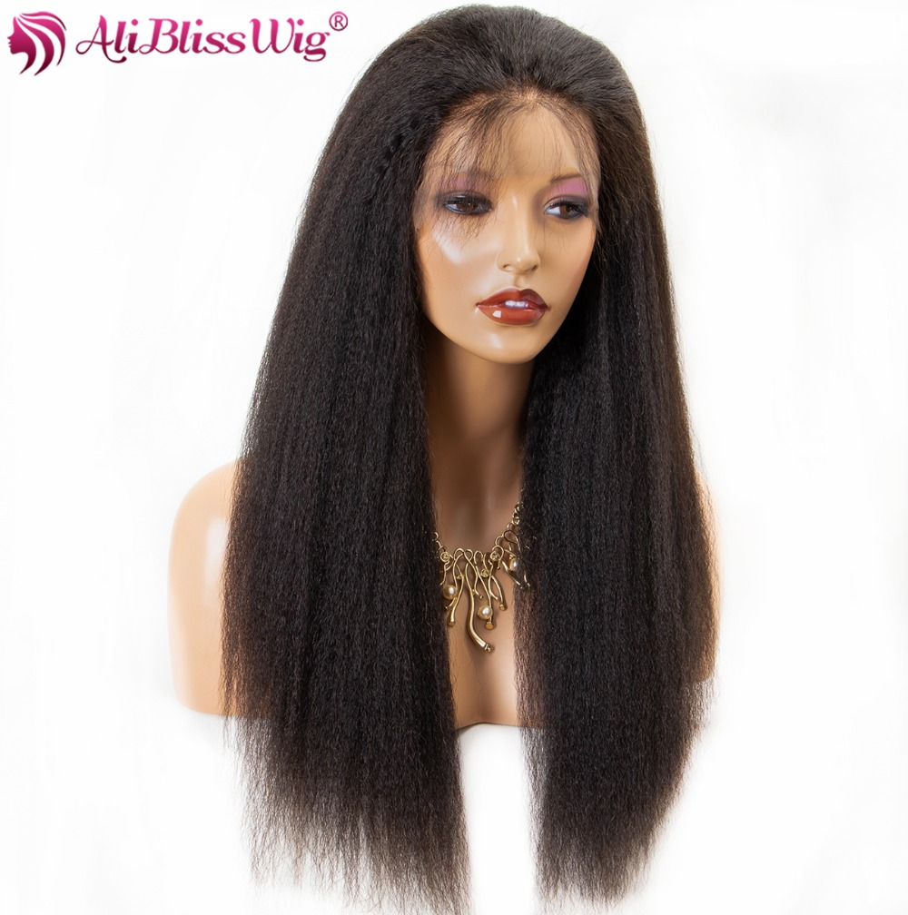 aliblisswigPreplucked Italian Yaki Lace Front Human Hair Wigs for Black Women Brazilian Remy Glueless Lace Wig with Baby Hair2