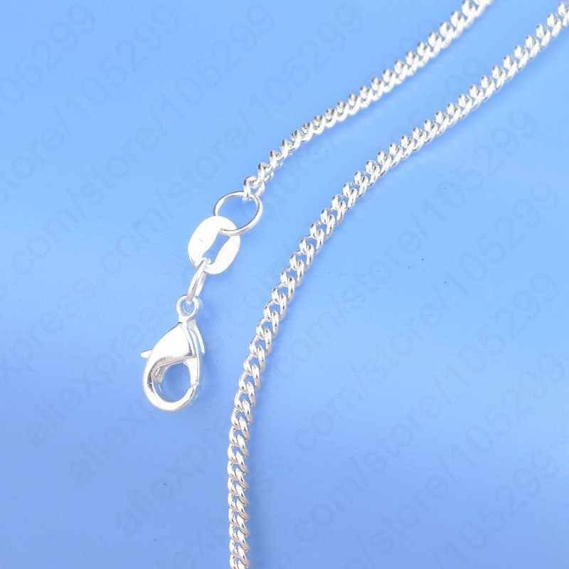 """Gorąca sprzedaż 1PC czysta 925 Sterling Silver Chain naszyjnik z dużym rabatem 16 """"-30"""" popularne płaskie krawężnik projekt biżuteria najwyższej jakości"""