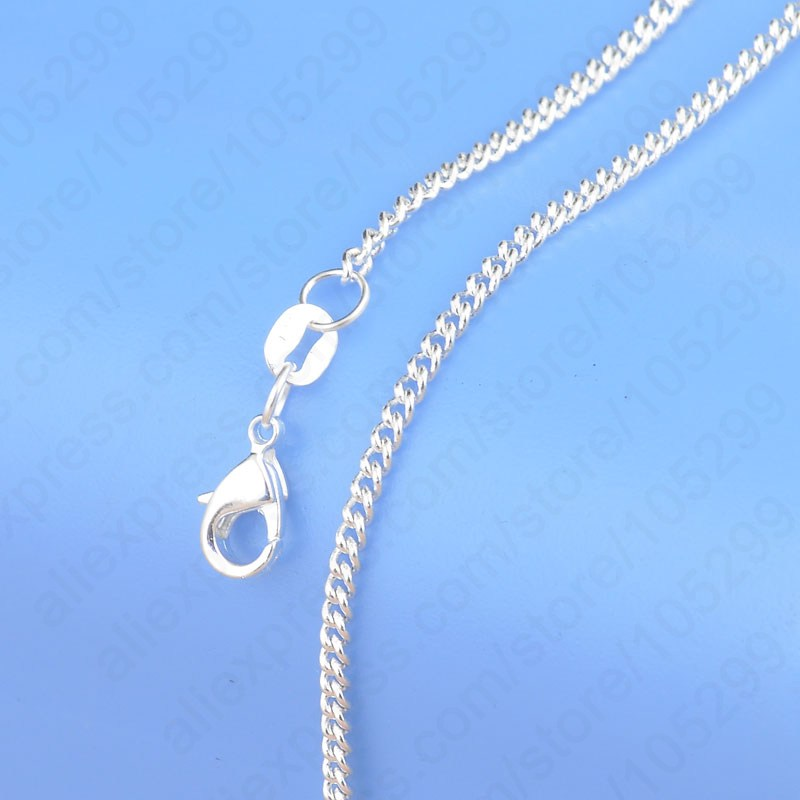 """Hot Sale 1PC Pure 925 Sterling Silver Chain Necklace With Big Discount 16""""-30""""Popular Flat Curb Design Jewelry Top Quality(China)"""