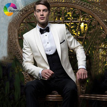 Ivory Wedding Suits for Men Shawl Lapel Tailored Groomsmen Suit Slim Fit Groom Tuxedo Casual Man Blazers 3Piece Jacket Pant Vest