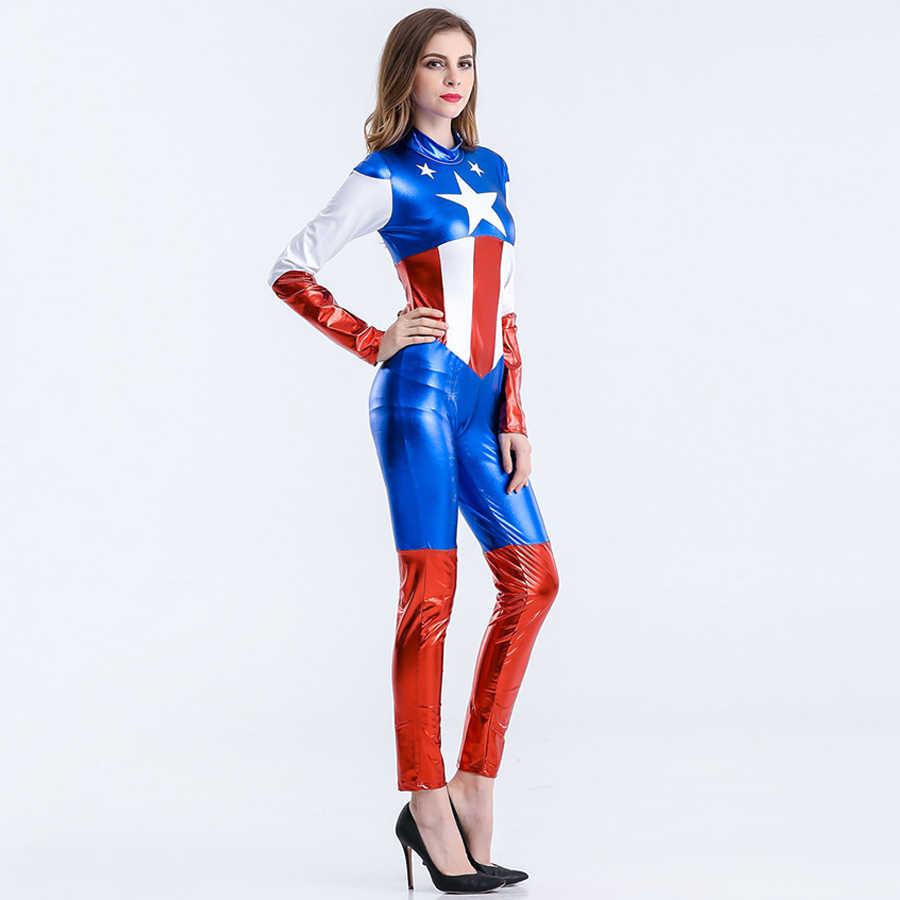 Seksi Kaptan Amerika Kostüm Kadın Cadılar Bayramı Karnaval Cosplay Kostüm Tulum Film Avengers Lego Yetişkin Kaptan Amerika Kostüm