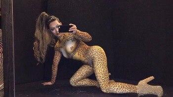 Mameluco Con Estampado De Leopardo   Mujer Sexy 3D Leopard Tigre Cabeza Flaco Mono De Club Nocturno Bar Rendimiento Cantante Equipo De Baile De Fiesta De Celebración De Cumpleaños