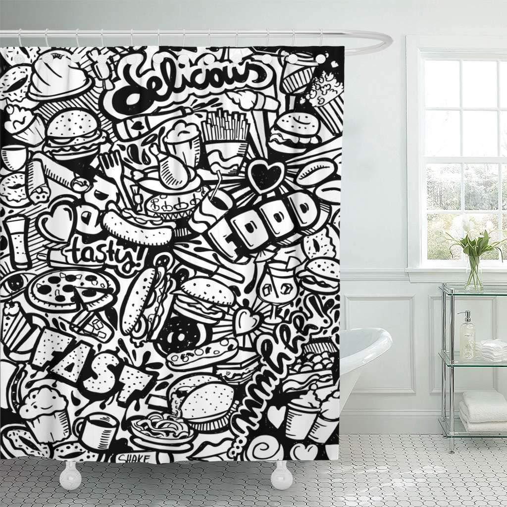Kain Shower Tirai Dengan Kait Bir Makanan Cepat Saji Doodle