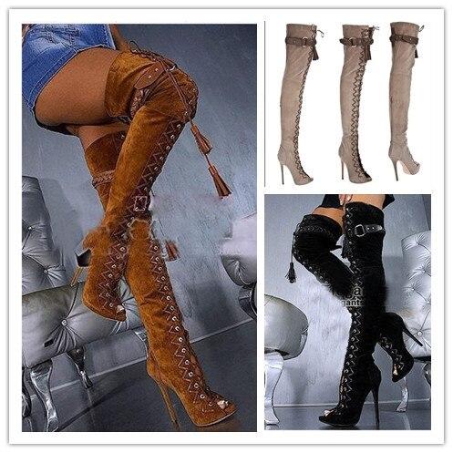d1759012dab7b Sexy botas altas con cordones gladiador sandalia botas mujer botas de cuero  sobre la rodilla botas de tacón alto en Botas caña alta de Zapatos en ...