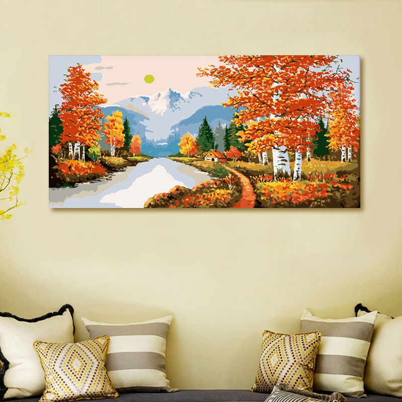 Living Room Digital Art: Coloring By Numbers Golden Age Modular Painting Home Decor