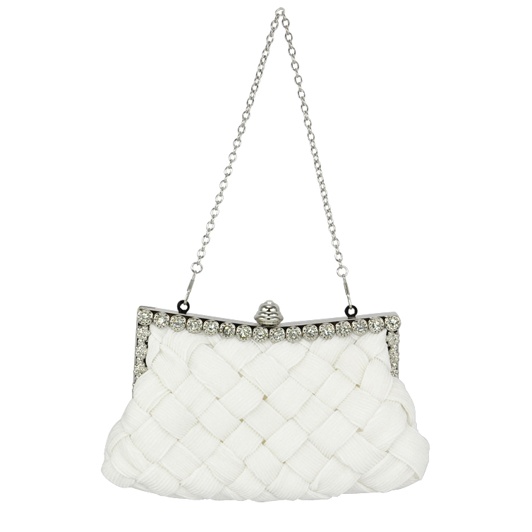 2017 Hot Style Elegant Ladies White Satin Bridal Evening Prom Clutch Handbag Purse Gift