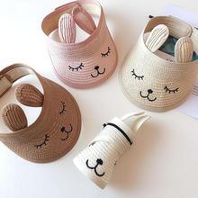 1 шт., детская соломенная шляпа с вышитыми кроличьими ушками, пустая верхняя шляпа для мужчин и женщин, летняя уличная соломенная шляпа