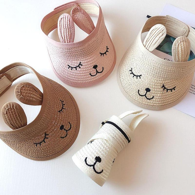 1pc Children Straw Hat Rabbit Ears Embroidery Empty Top Hat Men And Women Baby Summer Outdoor Shade Straw Hat Wholesale