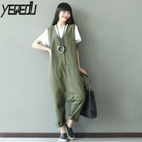 #0325 2017 Jumpsuit summer Sleeveless Army green Vintage Cross pants Denim Overalls for women Hip hop jumpsuit Body femme