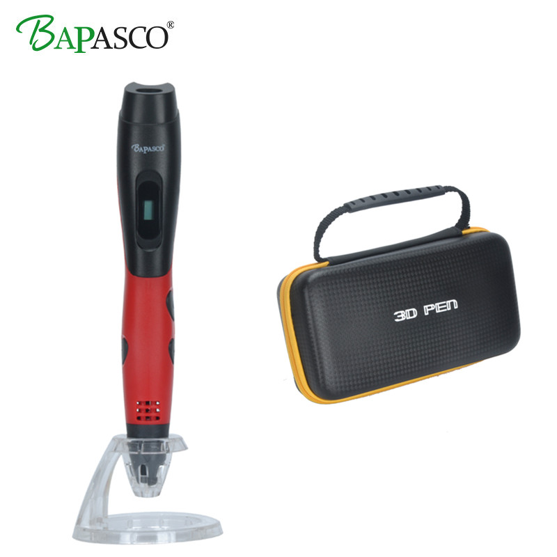 цена на BAPASCO 1.75mm ABS/PLA DIY 3D Pen LED Screen,USB Charging 3D Printing Pen+Free Filament Pen 3D Creative Toy Gift For Kids Design
