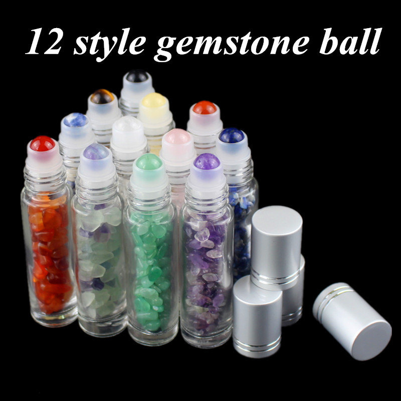 10pcs 12pcs 10ml Natural Gemstone Essential Oil Roller Ball Bottles Perfumes Oil Liquids Roll On Bottles With Crystal Chips